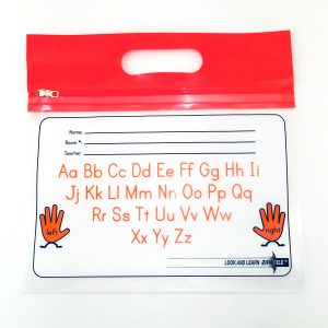 Orange Handle Alphabet ZIPAFILE Look and Learn Bag – Pack of 25