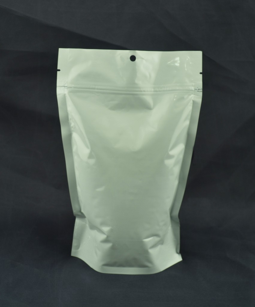 White Foil Reclosable Stand up Bag