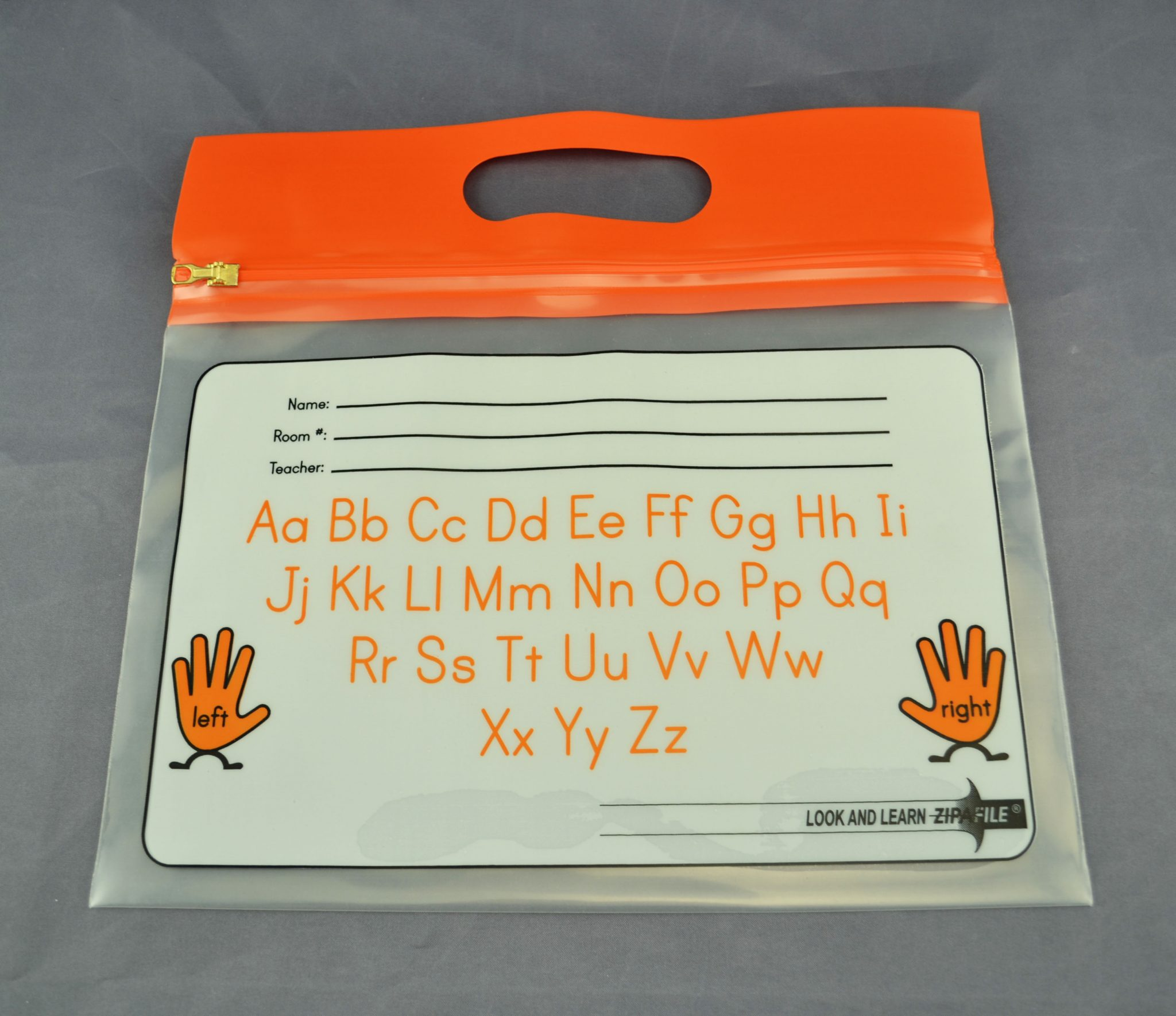 "ZIPAFILE Bag with ""Alphabet"" print – Pack of 25 – Orange Handle"
