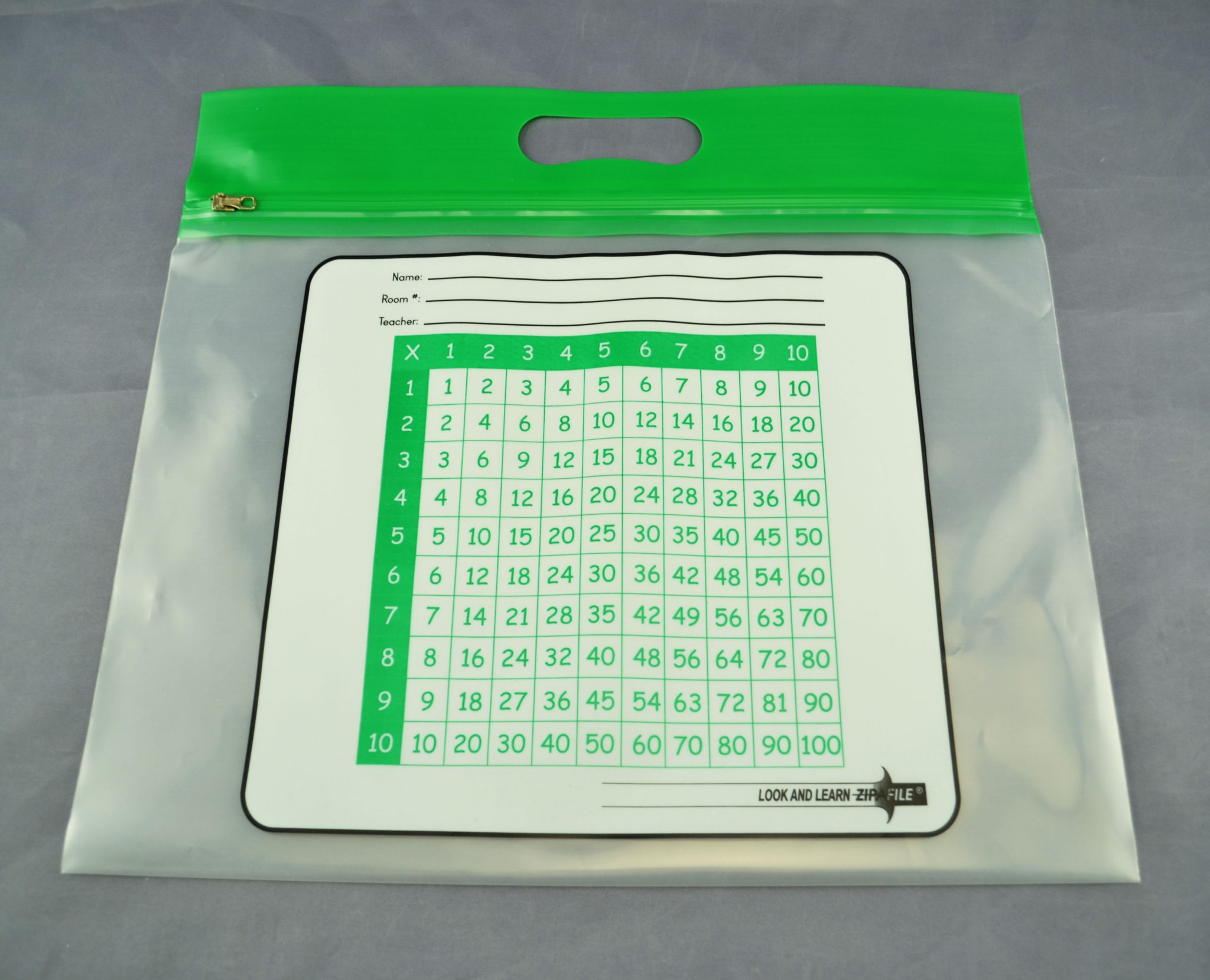 """ZIPAFILE Bag with """"Multiplication Table"""" print – Pack of 25 – Green Handle"""