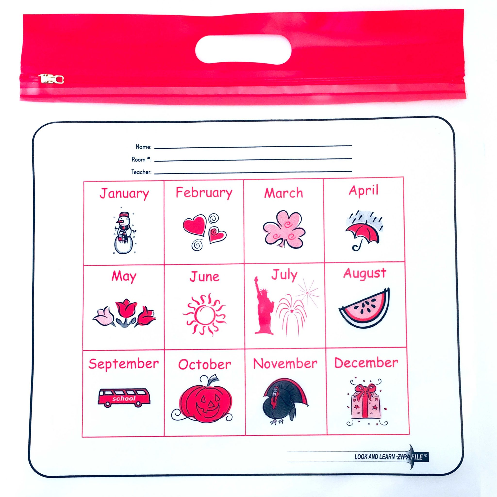 Red Handle Months ZIPAFILE Look and Learn Bag – Pack of 25