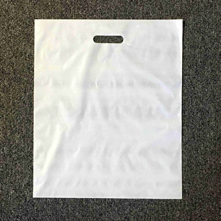 White C Cut Handle Bag 15 x 18