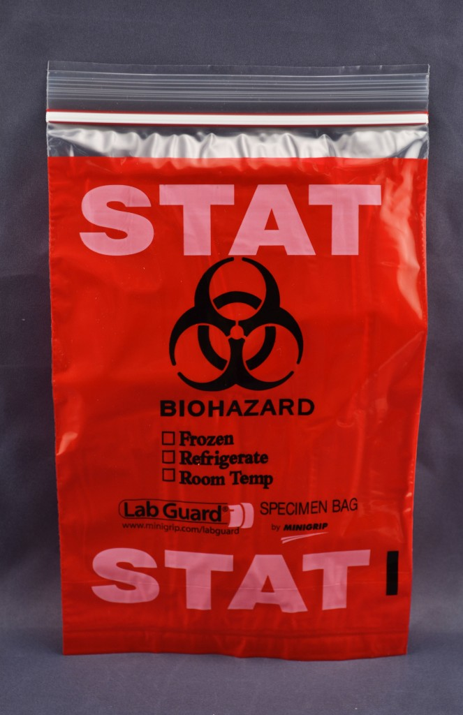 "Tri-wall (3-Wall) ""Biohazard Stat"" Reclosable Zipper Lock Bag"
