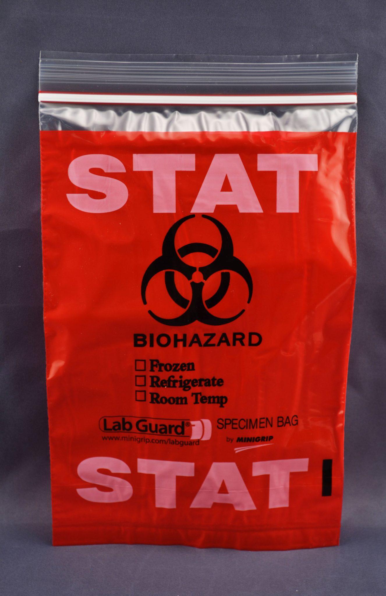"Tri-wall (3-Wall) ""Biohazard Stat"" Reclosable Zipper Lock Bag"