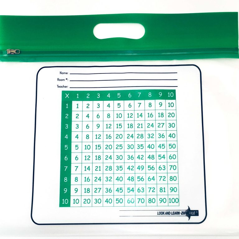Green Handle Multiplication ZIPAFILE Look and Learn Bag – Pack of 25