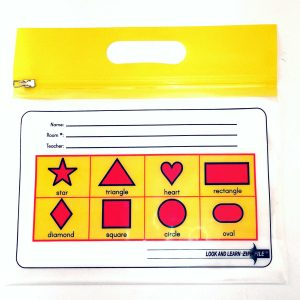 Yellow Handle Shapes ZIPAFILE Look and Learn Bag – Pack of 25